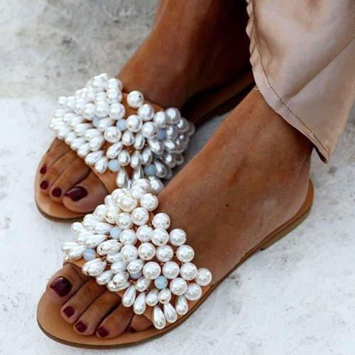Slip-On Flip Flop Beads Flat With Slippers