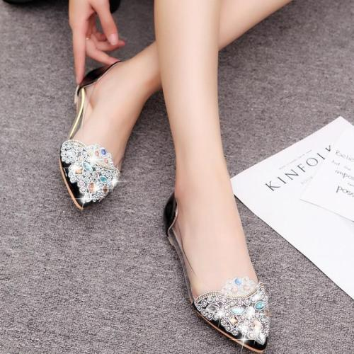 New Women's Shoes Woman Rhinestone Transparent Casual Flats Female Comfortable Pointed Toe Shallow Slip On Ladies Flats