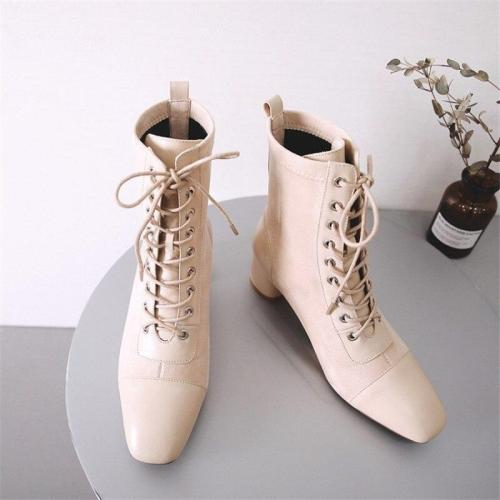 Lace Up Genuine Leather Square Toe Ankle Length High Heel Ladies Shoes Handmade Patchwork Boots