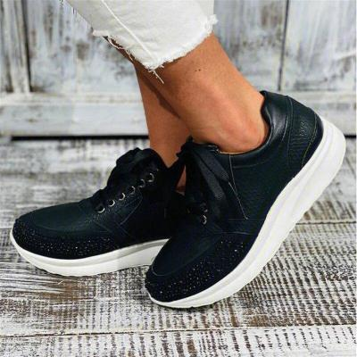 Women Retro Sneakers Casual Wedge Ladies Flat Shoes Zipper Lace Up Comfortable Female Shoes Outdoor Single Shoe