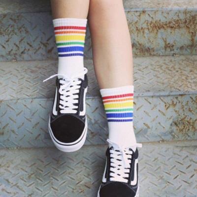 Women Art Rainbow Striped Short Socks Cartoon Cotton Cool Skateborad Socks Female Girl White Ankle Socks