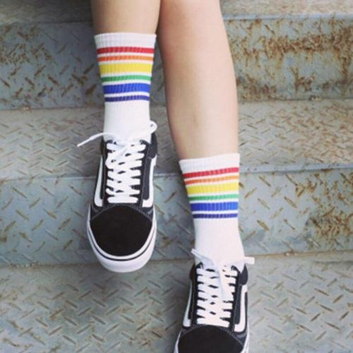 Women Art Rainbow Striped Short Socks Cartoon Cotton Cool Skateborad Socks Female Girl White Ankle Socks