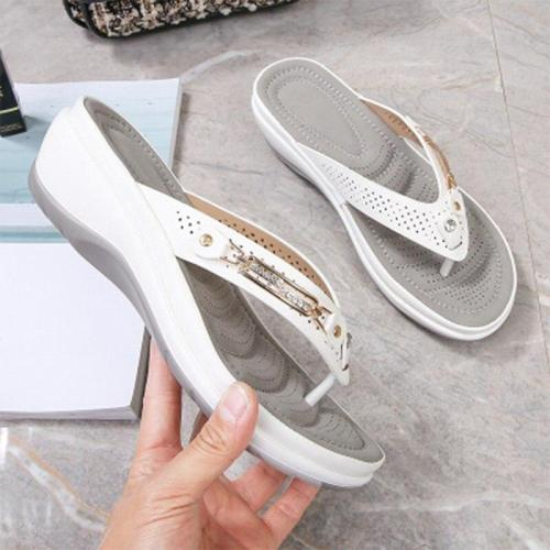 Summer Flip Flops Women Slippers Female Metal Slides Woman Wedges Solid Ladies Casual Beach