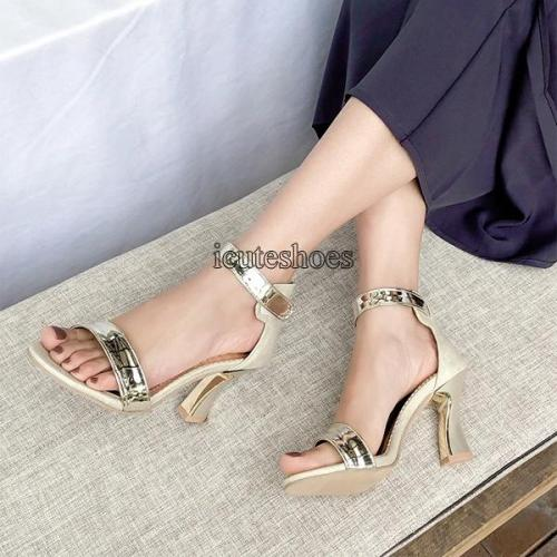 Summer New Fashion Elegant Women's Shoes Chunky Heel High Leather Sandals Women