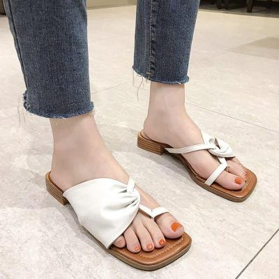 Solid Color Leather Low Heels Slides Woman Comfort Wild Slippers Women Square Head Sandals