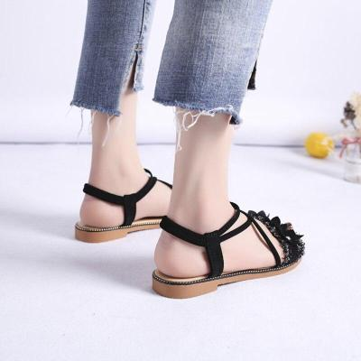 Summer Shoes Woman Sandals Fashion Bohemian Flower Flat Sandals Women Shoes Slip on Open Toe Black