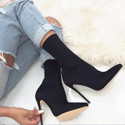 Women Silk Sock Boots High Heels Red Neon Green Ankle Boots Peach Shoes