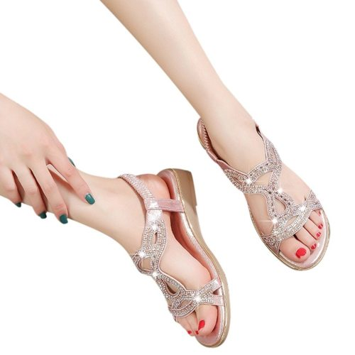 Bohemian Sandals Women Bohemian Crystal Female Shoes Flat Beach Shoes Sandal Casual Women Sandals Summer