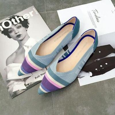 Pointed Toe Women Flats Fashion Knitted Moccasins Casual Women Loafers Shoes Spring Summer Leopard