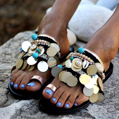 Sequin Flip Flop Slip-On Flat With Casual Slippers