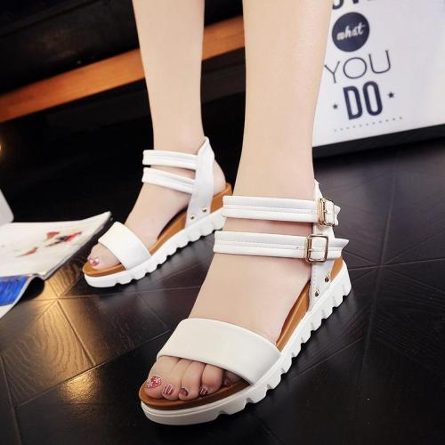 Buckle Sandals Women In Summer New Casual Slope Heel Sandals Wedges