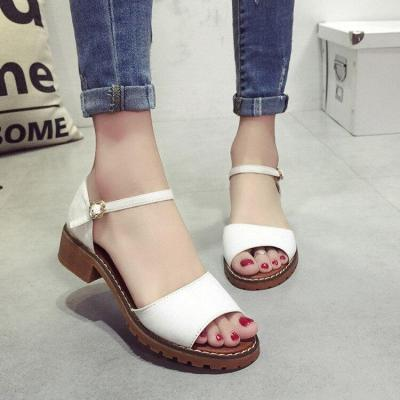 Summer Floral Sandals Women Sandals Pu Suede Retro High Heels Square Heel Woman Buckle Shoe Size