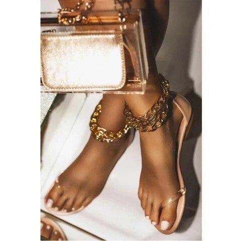Women Summer Beach Sandals Flats Shoes Woman PU Leather Plus Size Flip Thong Gothic Chain Sandalias