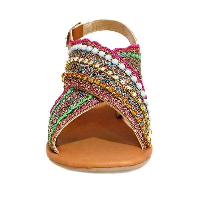Summer Women Sandals Back Strap Buckle String Striped Flat Rubber Sole Retro Luxury Casual Shoes