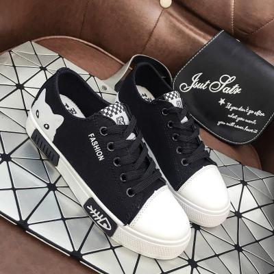 Sneakers Breathable Flat Casual White Shoes Cat Woman Canvas Shoes