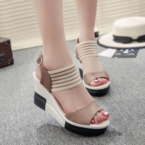 High-heeled Sandals Summer New Roman Women's Slope Heeled Sandals Decoration Women's Shoes