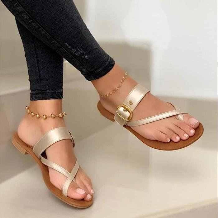 Summer Slippers Fashion Buckle Slippers Solid Women Shoes Casual Flats Ladies