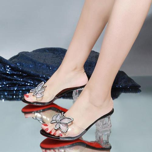 2020 New Summer High Heels Middle Heels Chunky Heels Transparent Fashion Slippers
