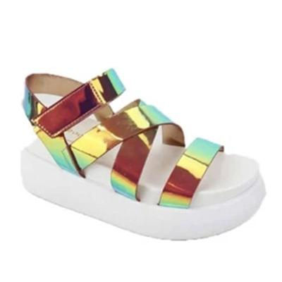 Woman Fashion Women's Sandals Flat Platform Ladies PU Colorful Shoes Summer Female Sandal