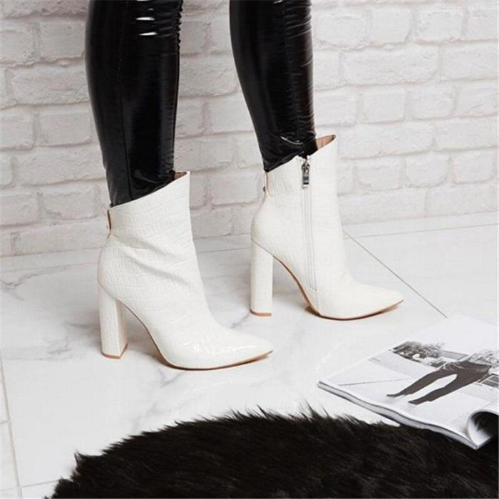Women High Heels Fetish Boots Leather Block White Heels Ankle Boots Chunky Shoes