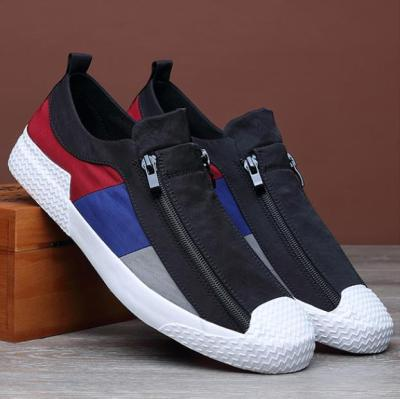 2020 New Style Men's Vulcanize Shoes Breathable Double Zipper Trend Men Canvas Loafer British Fashion Mixed Colors Casual Shoe