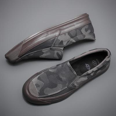 New Camouflage Canvas Sneaker Shoes Men's Breathable Leisure Vulcanize Shoes Lazy Platform Trend All-match Loafer Shoes
