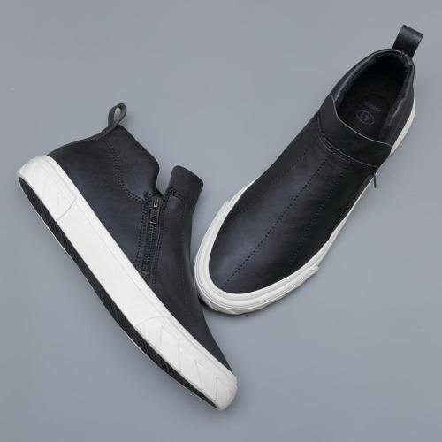 Brand New High Top Men Vulcanized Shoes Autumn Lazy Casual Leather Loafer Shoes Breathable Side Sewing Roud Toe Flats