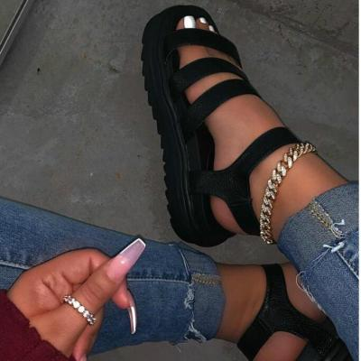 Women Summer Shoes with Platform PU Leather Wedges Female Gladiator Sandal Thick Bottom Black Brown