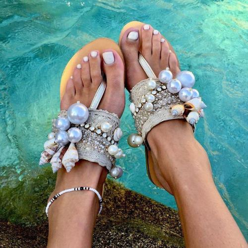 Slip-On Beads Flat With Thong Casual Slippers