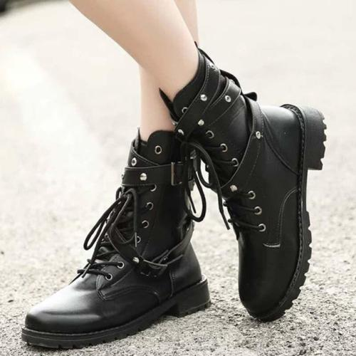 Fashion Black Boots Women Heel Lace-up Soft Leather Platform Shoes Woman Party Ankle Boots High Heels Punk