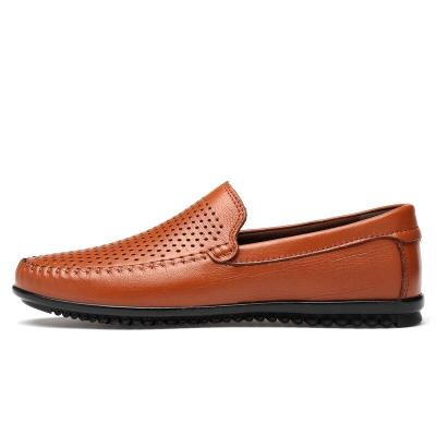 Man Leather Shoes Slip on Summer Men's Shoe Boat Footwear Breathable Casual Loafers Brown Male Flats Design