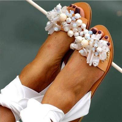 Women Sandals Female Pearl Flat Woman Gladiator Ankle Wrap Women's Casual Shoes Ladies Summer Beach Footwear