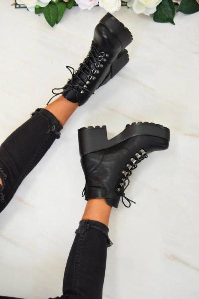 Ankle Boots Mid Boot PU Lace-UP Non-slip Fashion Riding Boots Female 2020 Autumn Winter Platform Boots Women