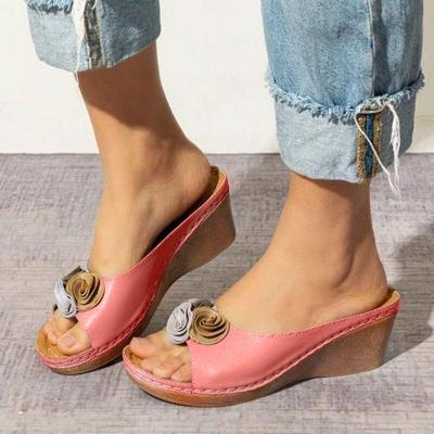 Summer Women Sandals Flower Wedges Ladies Open Toe Casual Shoes Platform Flip Flops Wedge Sandals Beach Shoes