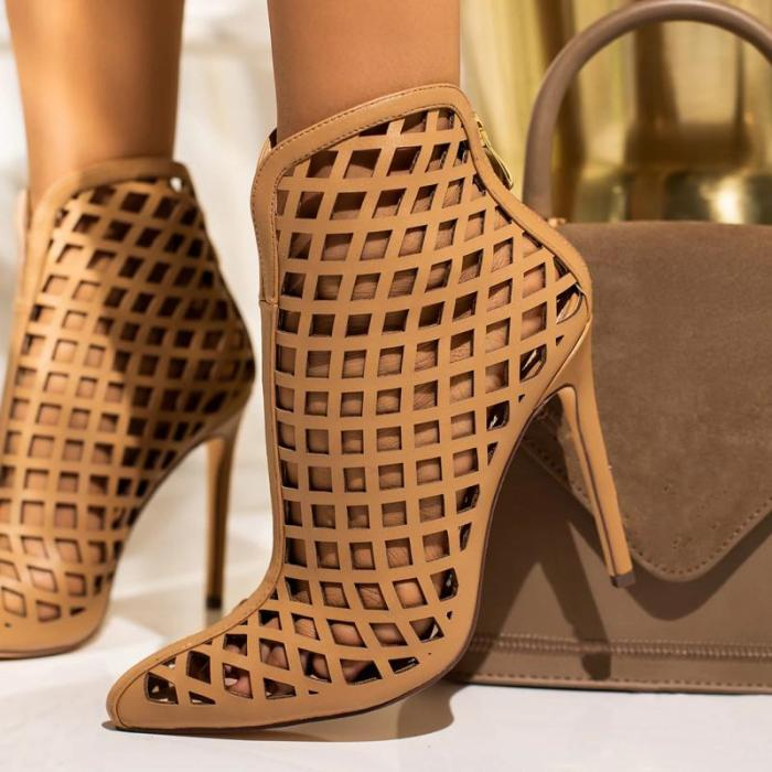 Fashion High Heels Shoes Women High Heel Sandals Closed Toe Hollow Out Chunky Sandals