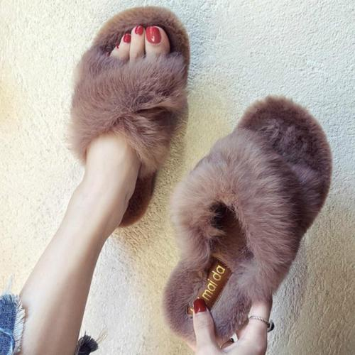 Winter Women Slipper Furry Warm Slip on Ladies Fluffy Mules Cross Soft Indoor Slides Flip Flops Plush Shoes