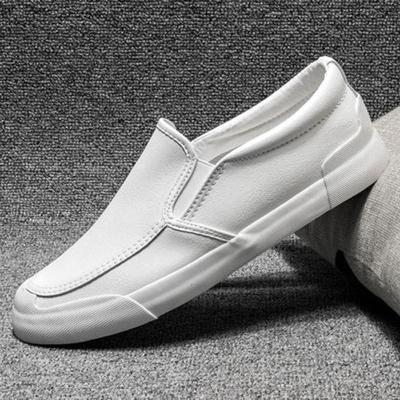 2020 New Men's Vulcanize Shoes Lazy Tide Simple Casual Leather Shoes Men's Loafer Shoes Designer Slip-On Sneakers