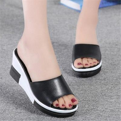Outdoor Casual Flat Women's Slippers Pu Leather Summer High Heel Slippers Platform Wedge Shaped Fashion Beach Shoes
