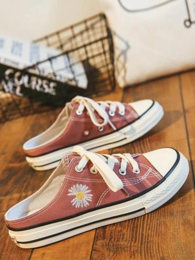 Flat Heel Lace-Up Holiday Daisy Canvas Sneakers
