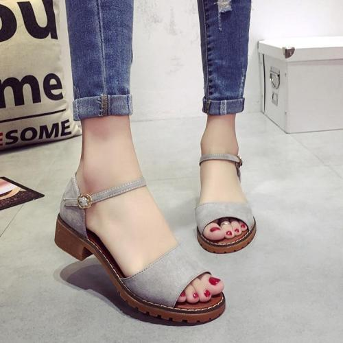 Summer Floral Sandals Women Sandals Pu Suede Retro High Heels Square Heel Woman Buckle Shoe Size