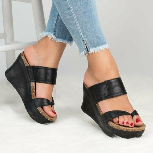 Wedge Heel Thong Platform Slip-On Slippers