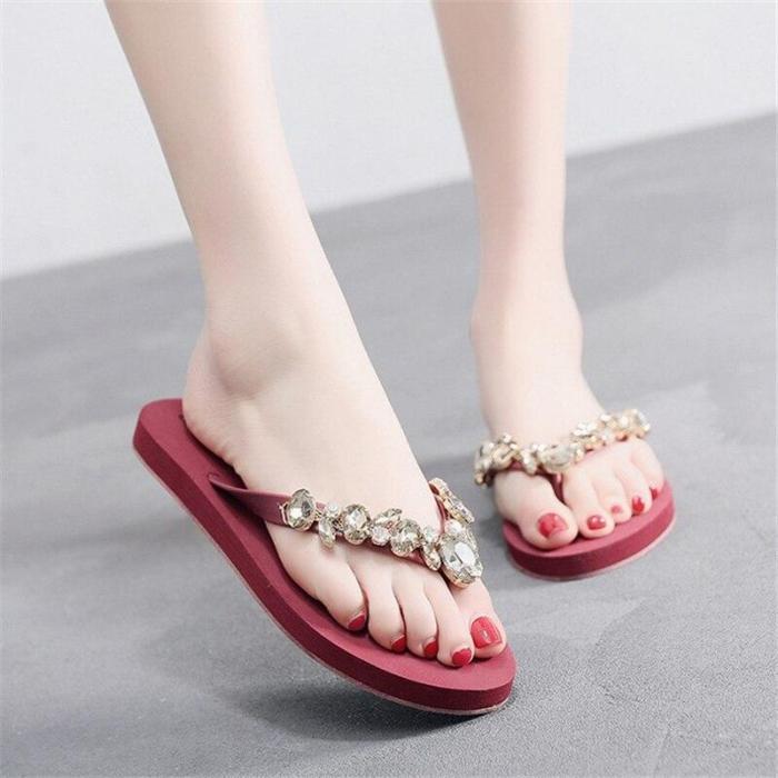 Women's Casual Flat Beach Shoes Fashion Flip Flops Summer Flat Slippers