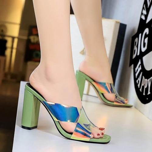 Sliders Fashion Women Slippers Heels Patent Leather Bling Ladies Shoes Cross-tied Sandals Sexy Women Shoes