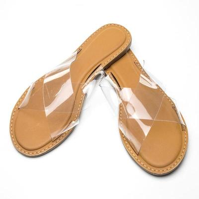 ladies slides Transparent color plastic cross flat comfortable special female slippers size
