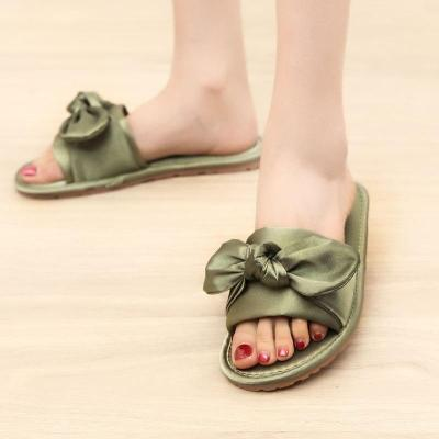 Women Home Slipper Indoor Outdoor Bow Flip-flops Fashion Silk Flat Shoes New Fashion Female Casual