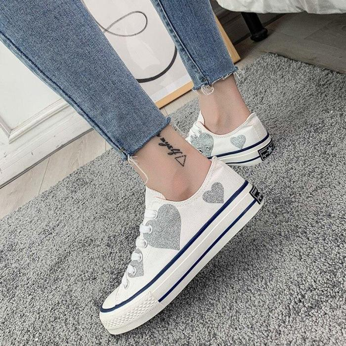 High-top Canvas Shoes Women Spring Flat Lace-up Leisure Comfortable Round Head Board Shoes