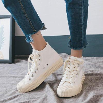 Women Sneakers White High Top Platform Canvas Shoes Woman Ladies Trainers Casual Womens