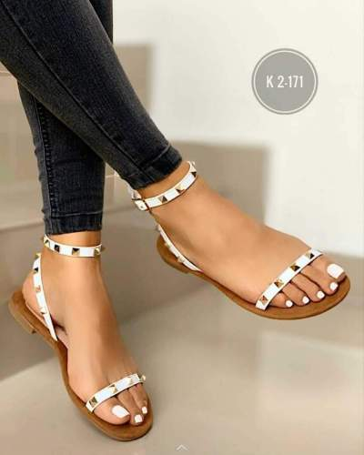 Sandalias Woman Flat Sandals Ladies Open Toe Rivet Buckle Shoes Woman Comfort Casual Fashion Sandals Female Summer