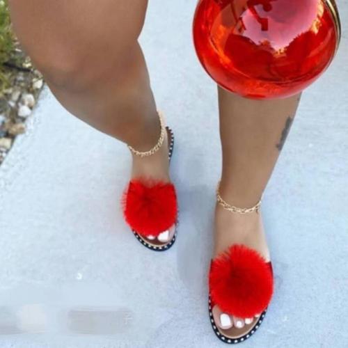 2020 Summer New Women Shoes Flat Sandals Open Toe Summer Outdoor Beach Slippers Sexy Fashion Hair Ball