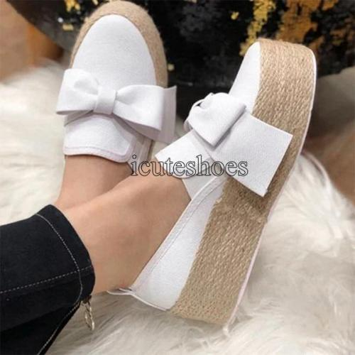 Flats Women Flats Thick Bottom Shoes Slip On Casual Ladies Canvas Bow Shoe